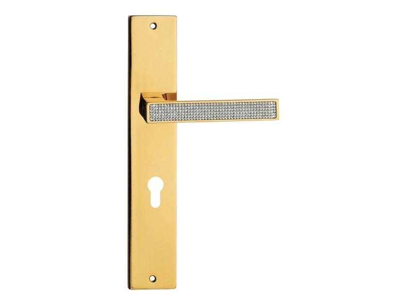 Chromed brass door handle with Swarovski® Crystals on back plate ZEN MESH | Door handle on back plate - LINEA CALI'