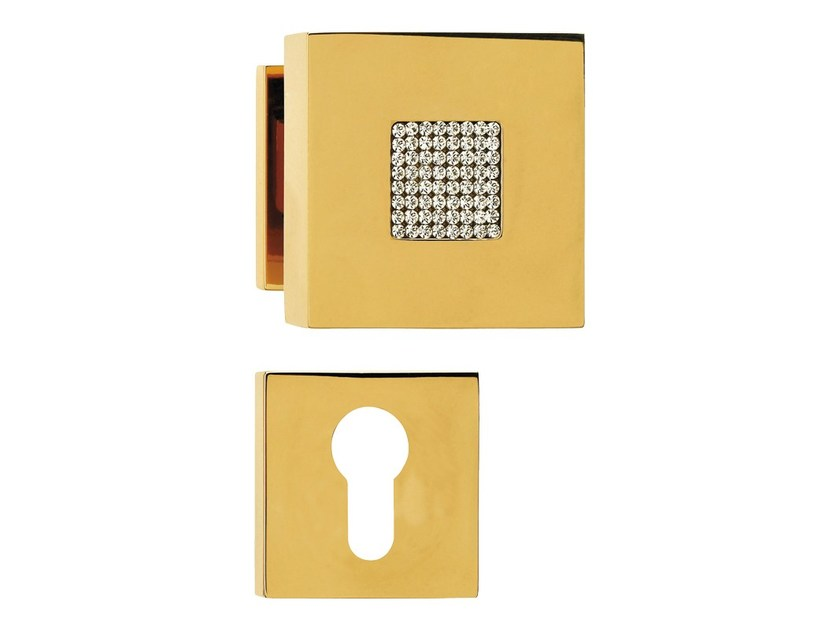 Chromed brass door knob with Swarovski® Crystals with lock ZEN MESH | Door knob with lock - LINEA CALI'