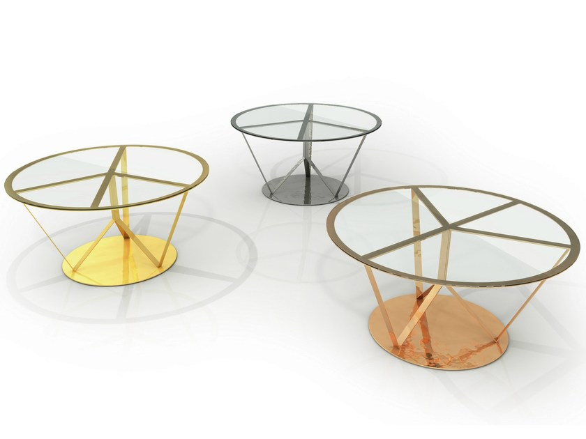 Round glass and aluminium table PACE | Table - altreforme