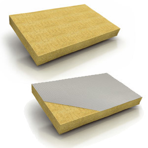 Rock wool Thermal insulation panel / Sound insulation and sound absorbing panel in mineral fibre DP8 – DP8 ALUR - KNAUF INSULATION - Chivasso