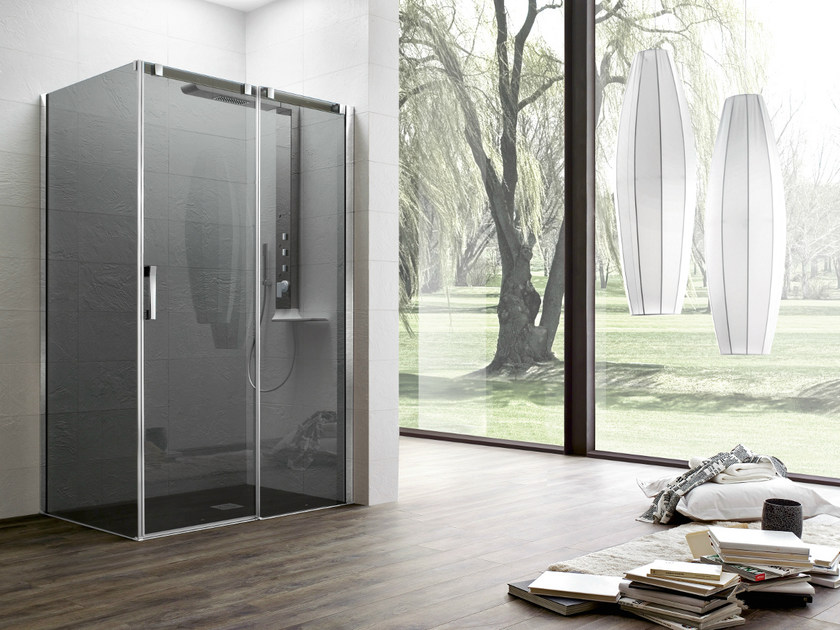 Corner tempered glass shower cabin with sliding door OTTO PREMIUM | Shower cabin with sliding door - ARBLU