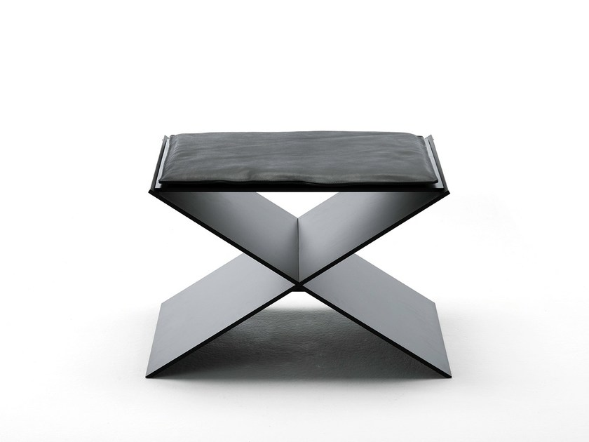 Low upholstered leather stool ANIN - Living Divani