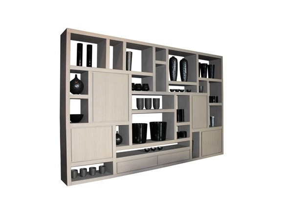 Open wall-mounted sectional wood-product bookcase MONDRI | Bookcase - Ph Collection