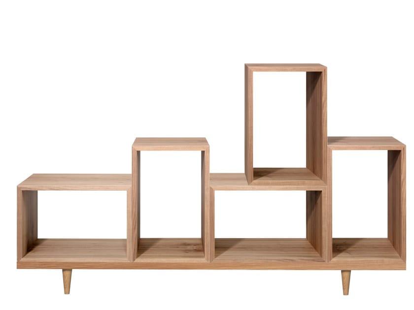 Open sectional wood veneer bookcase YO - AZEA