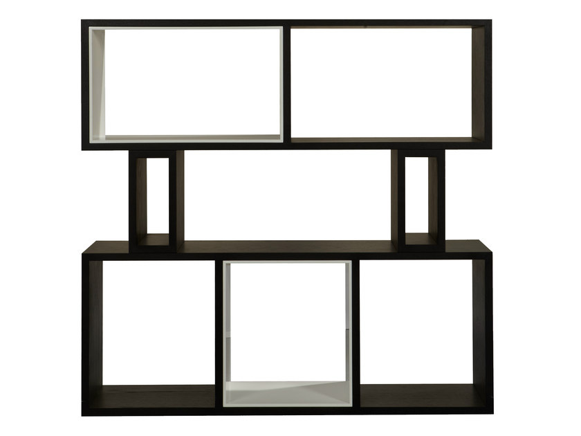 Open wood veneer bookcase HYRAGANA | Open bookcase - AZEA
