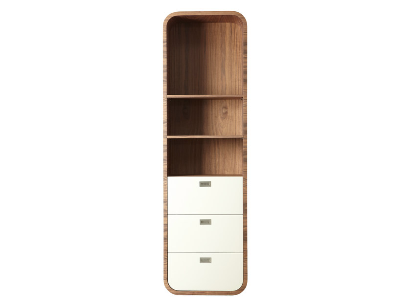 Open wood veneer bookcase with drawers TORONTO by AZEA
