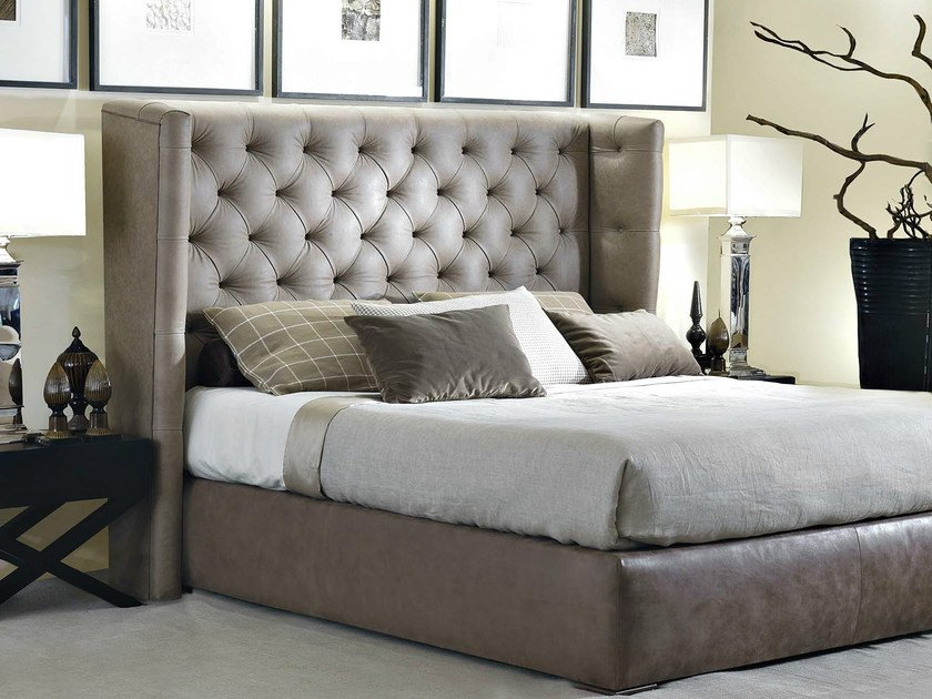 Fabric double bed with high headboard VITTORIA | Bed - SOFTHOUSE
