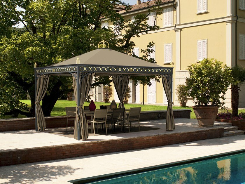 gartenpavillon aus eisen novecento prestige oro by unosider. Black Bedroom Furniture Sets. Home Design Ideas