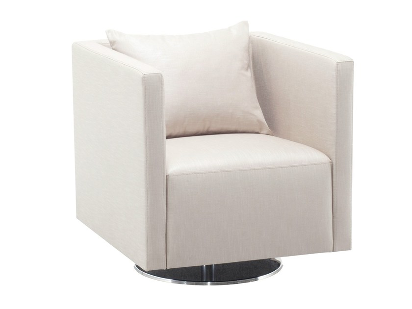 Swivel upholstered fabric armchair ALAMBRA - AZEA