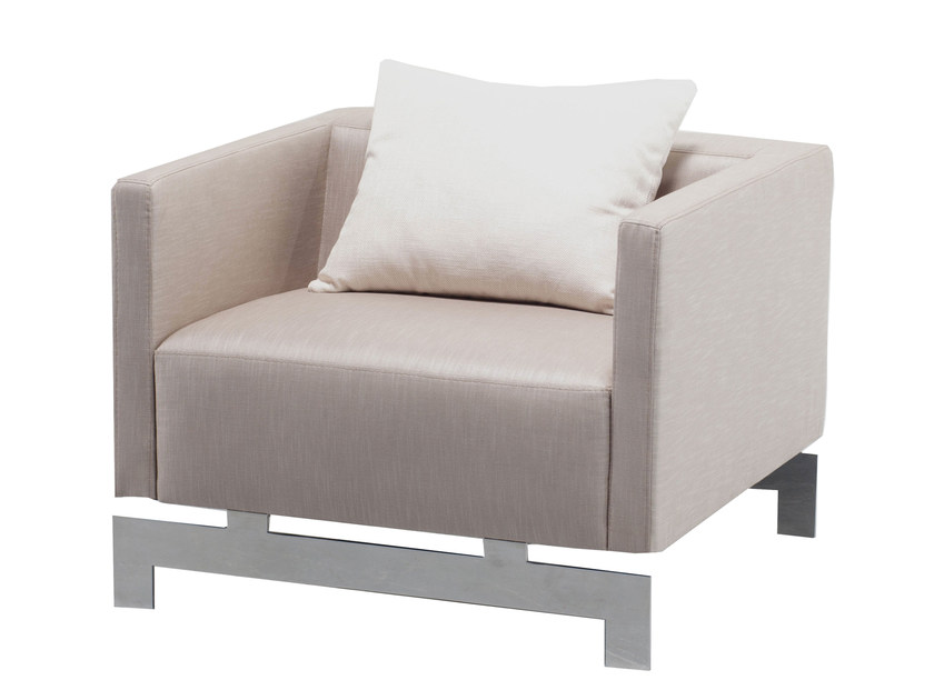 Upholstered fabric armchair with armrests YLOOK - AZEA
