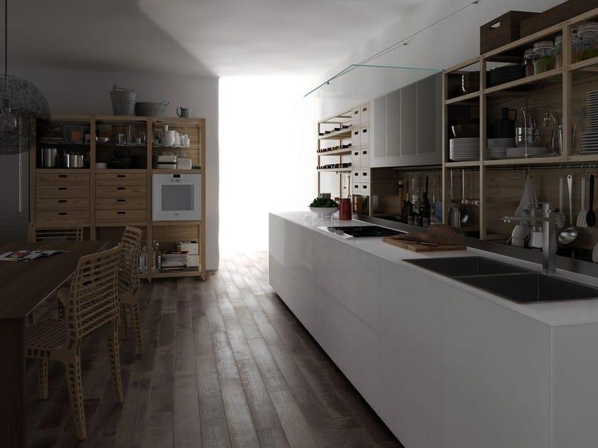 Glass and wood fitted kitchen ARTEMATICA VITRUM + SINETEMPORE - VALCUCINE