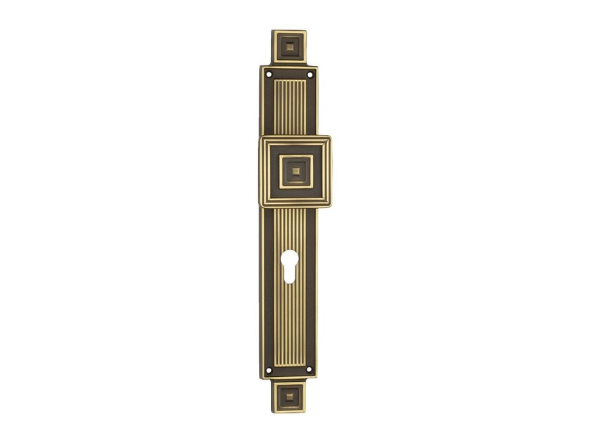 Chromed brass door knob with lock on back plate OPERA | Door knob on back plate - LINEA CALI'