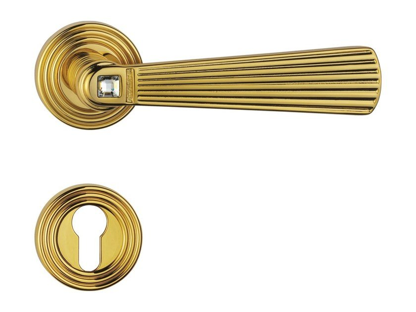 Chromed brass door handle on rose with lock OPERA CRYSTAL | Door handle with lock - LINEA CALI'