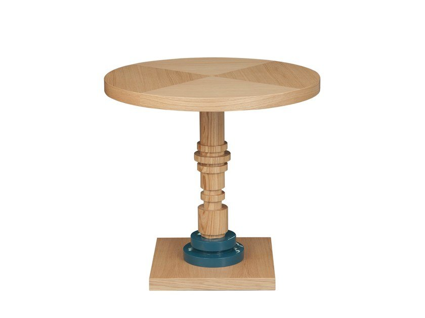 Round oak coffee table TULA | Round coffee table - Hamilton Conte Paris