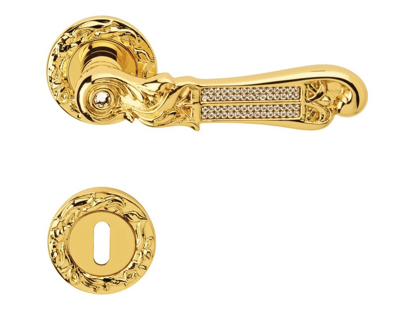 Chromed brass door handle on rose with lock TIFFANY VETRO | Door handle with lock by LINEA CALI'