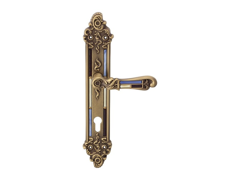 Chromed brass door handle on back plate TIFFANY VETRO | Door handle on back plate - LINEA CALI'