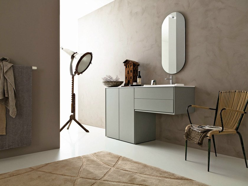 Lacquered vanity unit with mirror LIBERA 3D - COMPOSITION L11 - NOVELLO