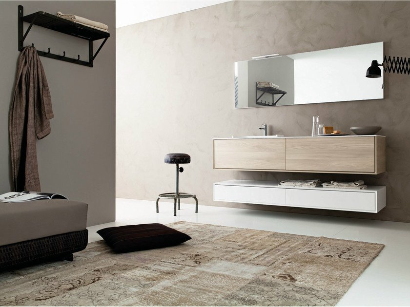 Wall-mounted HPL vanity unit with mirror LIBERA 3D - COMPOSITION C06 - NOVELLO
