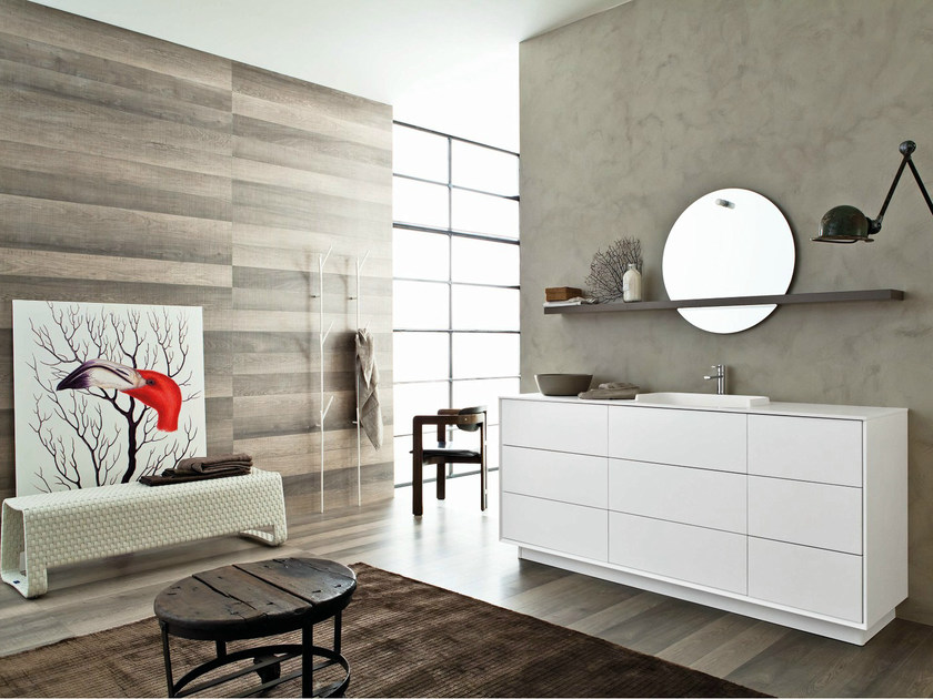 Lacquered single vanity unit with mirror LIBERA 3D - COMPOSITION L07 by NOVELLO