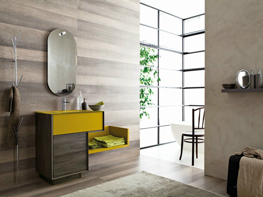 Single HPL vanity unit with mirror LIBERA 3D - COMPOSITION L09 by NOVELLO