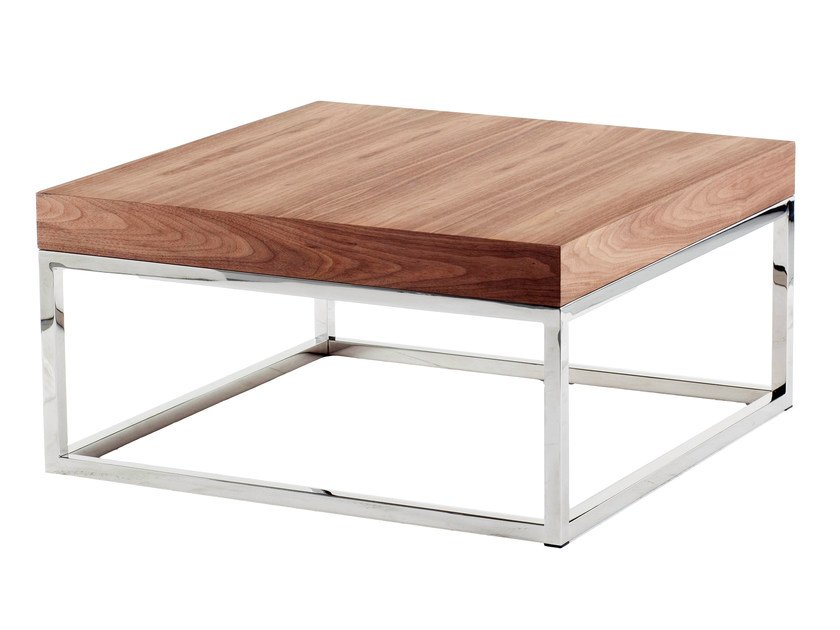 Low square wood veneer coffee table AZON | Square coffee table - AZEA