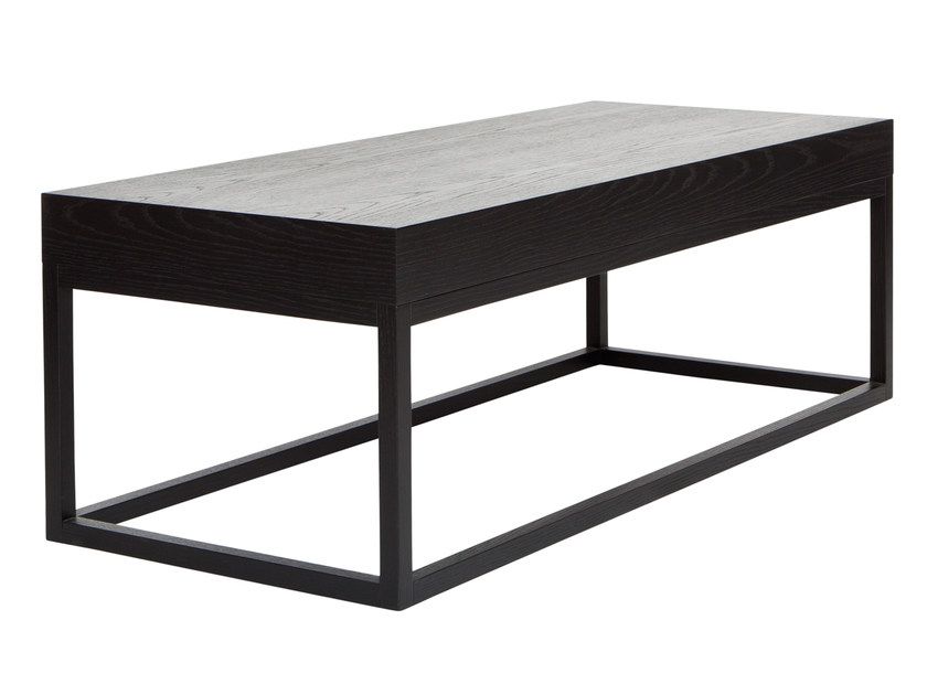 Low rectangular wood veneer coffee table AZON | Rectangular coffee table by AZEA