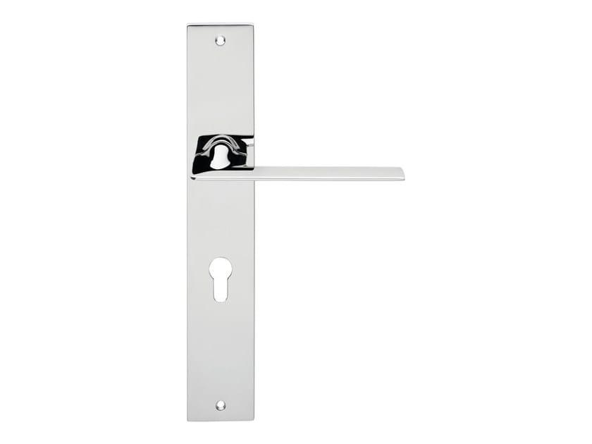 Chromed brass door handle on back plate JET | Door handle on back plate - LINEA CALI'