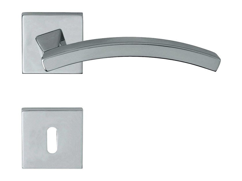 Chromed brass door handle on rose with lock PROFILO | Door handle on rose - LINEA CALI'