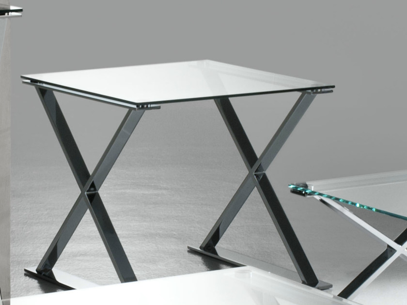 Square crystal and stainless steel coffee table ICS | Square coffee table - F.lli Orsenigo