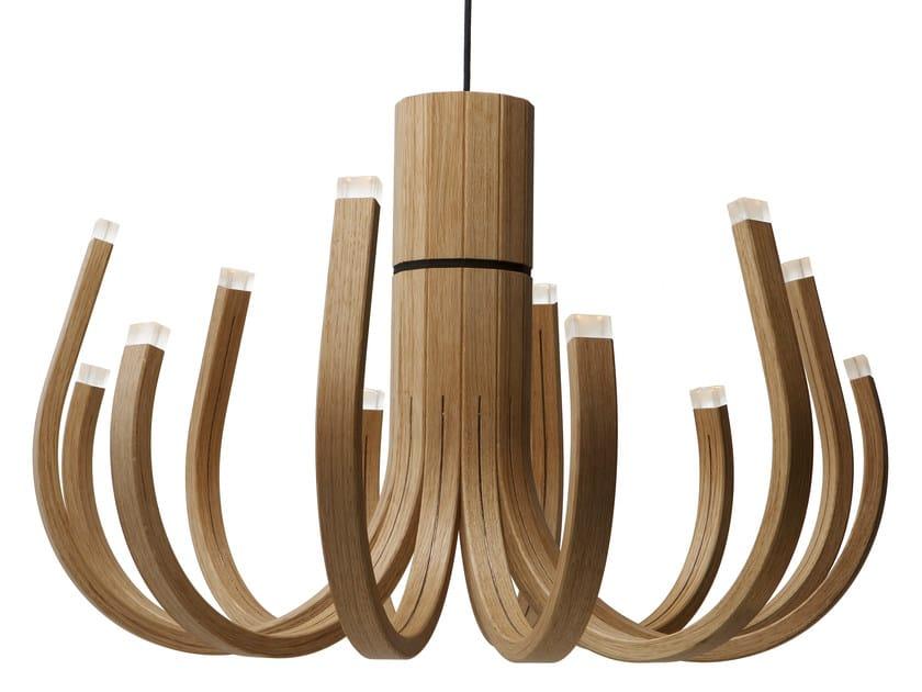 LED oak chandelier JUNE - Nikari