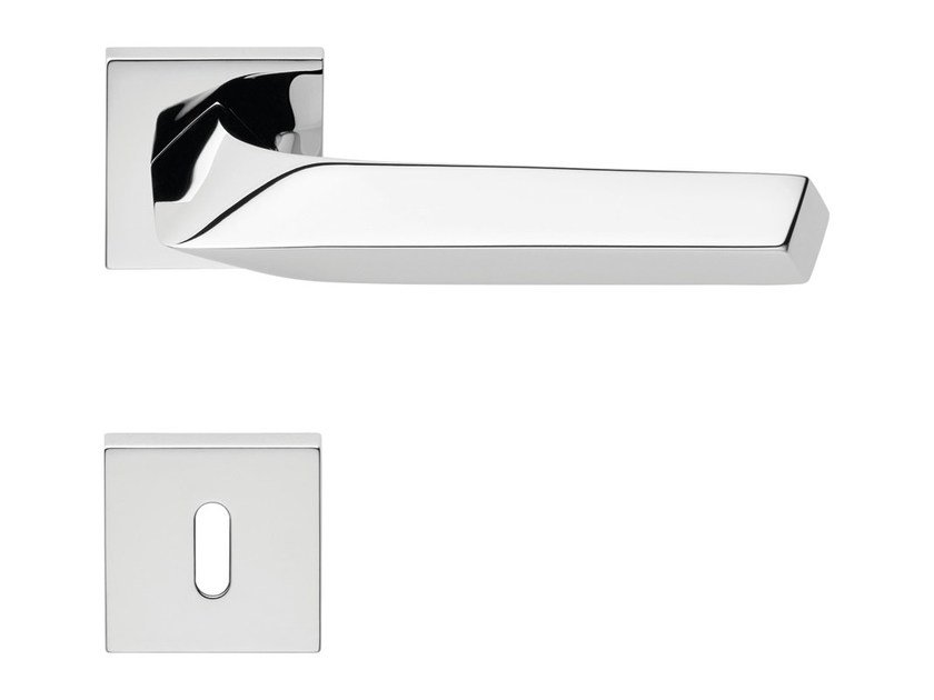 Chromed brass door handle on rose with lock ROMBO | Door handle with lock - LINEA CALI'