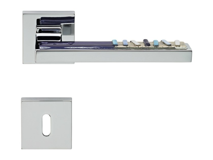 Chromed brass door handle on rose with lock SINTESI MART | Door handle with lock - LINEA CALI'