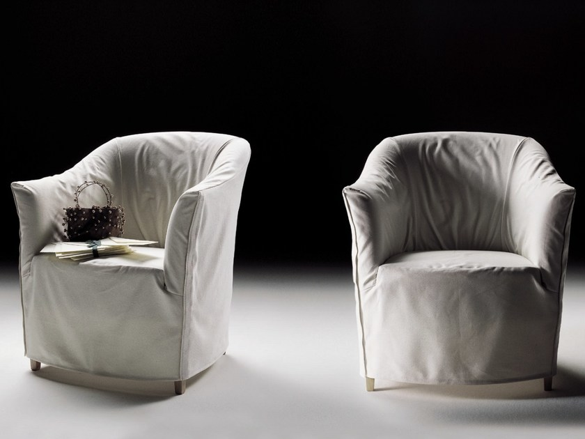Fabric armchair with armrests with removable cover DORALICE | Fabric armchair - FLEXFORM
