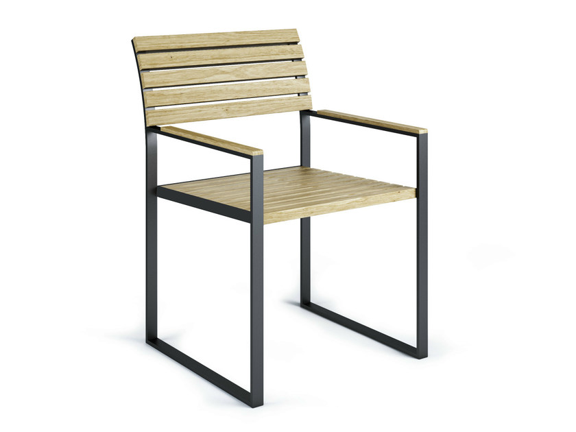 Sled base chair with armrests GARDEN BISTRO | Chair with armrests - Röshults