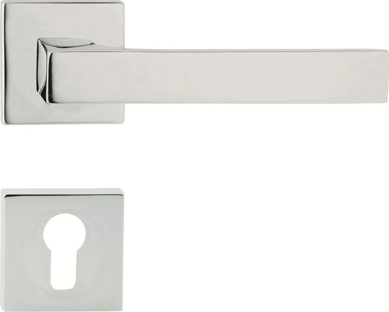 Chromed brass door handle on rose with lock ZEN | Door handle on rose - LINEA CALI'