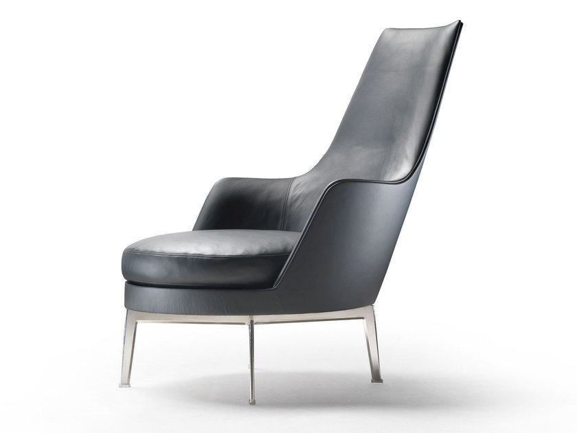 High-back upholstered leather armchair with armrests GUSCIOALTO | Armchair with armrests - FLEXFORM