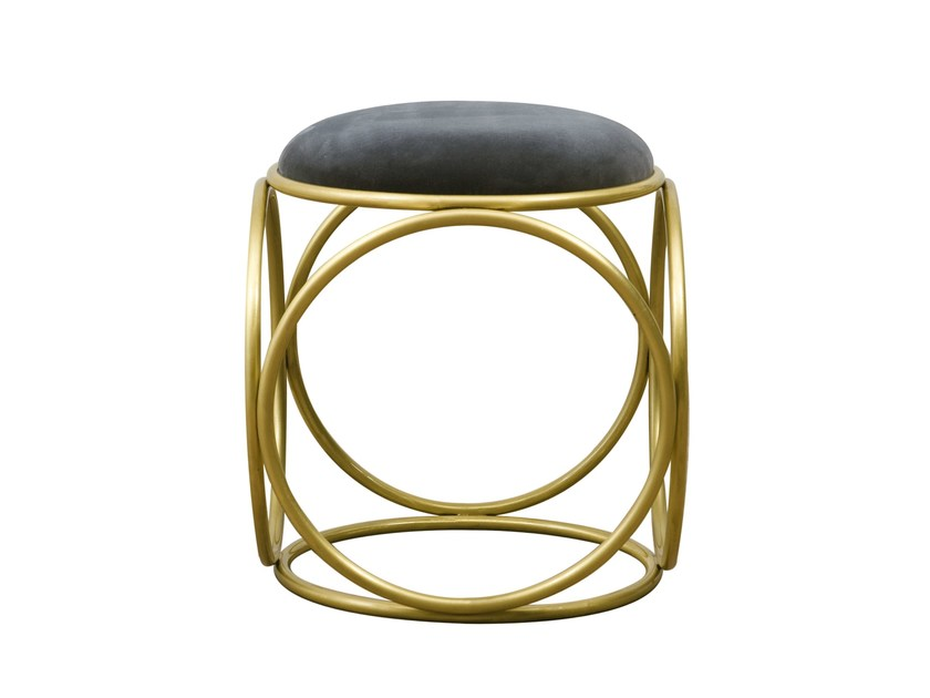 Low upholstered stool BRASS RINGS | Upholstered stool - Hamilton Conte Paris