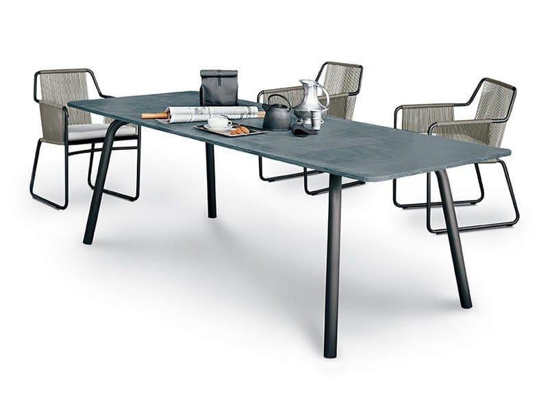 Rectangular stainless steel garden table GRASSHOPPER - RODA