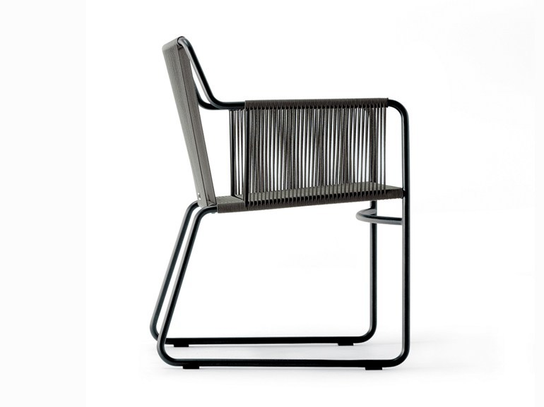 Stainless steel garden chair with armrests HARP | Chair with armrests - RODA