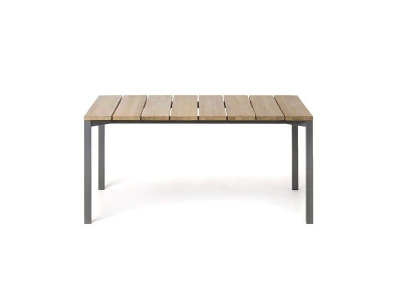 Rectangular steel and wood garden table LIGHT PIER - RODA