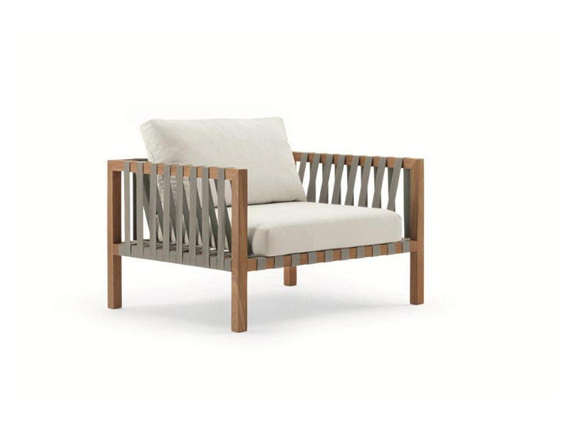 Wooden garden armchair with armrests MISTRAL | Garden armchair - RODA