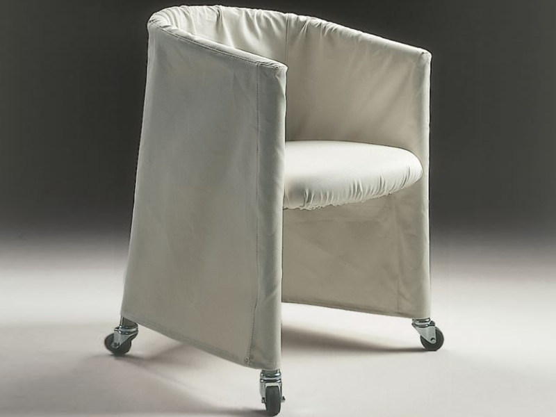Fabric easy chair with removable cover with casters MIXER | Fabric easy chair - FLEXFORM