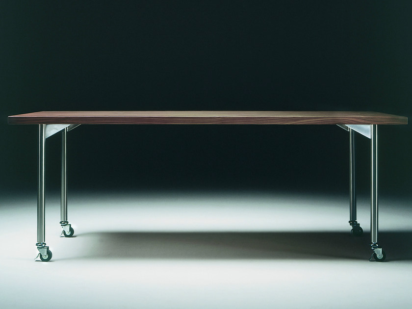 Rectangular wooden table with casters MIXER | Rectangular table - FLEXFORM