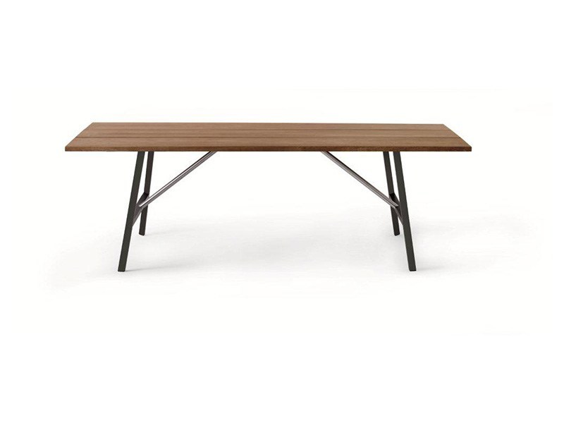 Rectangular steel and wood garden table TORNADO - RODA