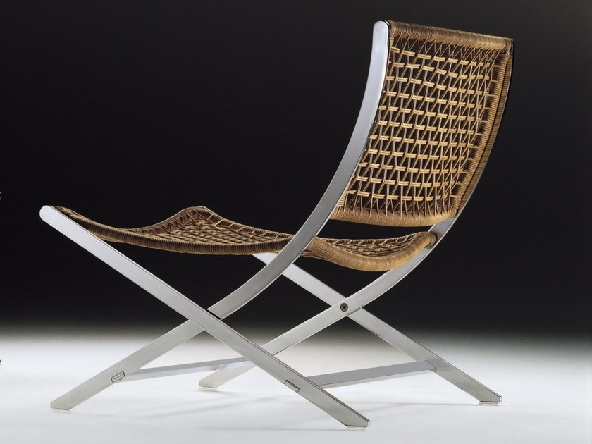 Woven leather cord chair PETER | Easy chair - FLEXFORM