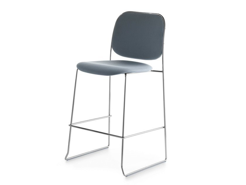 Upholstered stackable sled base stool BAY 65 - Crassevig