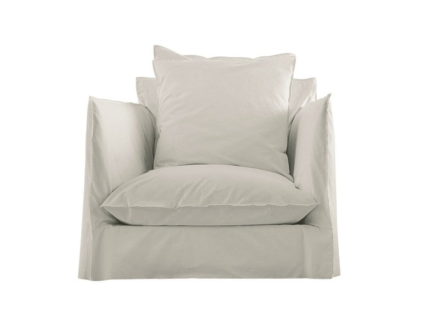 Armchair with removable cover with armrests GHOST 01 by Gervasoni