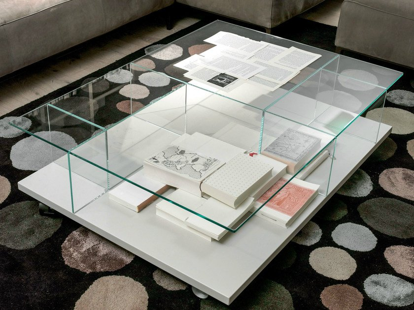 Low rectangular glass coffee table CT 160 | Rectangular coffee table - Hülsta-Werke Hüls
