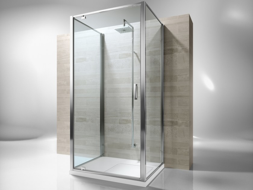 Custom tempered glass wall shower cabin JUNIOR GF+GA+GF - VISMARAVETRO