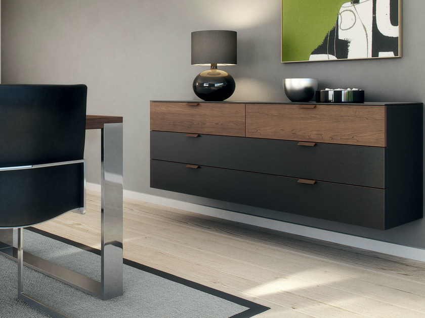 lacquered suspended sideboard with drawers multi varis. Black Bedroom Furniture Sets. Home Design Ideas